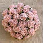 Розочки персико-розовые на проволоке, 20 мм., цена за 5  шт., UC002673
