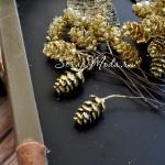 Шишечка с глиттером на проволоке, золотая,  цена за 1 шт., UC002688