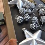 Шишечка с глиттером на проволоке, серебро, цена за 1 шт., UC002689