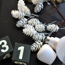 Шишечка с глиттером на проволоке, белая, цена за 1 шт., UC002690