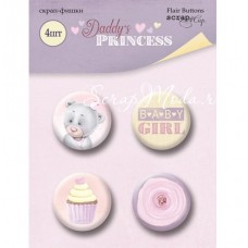 Набор скрап-фишек Daddy's Princess, 4шт., размер фишки 2,5 см., Scrapmir, UC002712