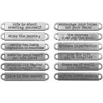 Металлические украшения-бирочки, 12 штук, размер 1 х 6 см., Tim Holtz, UC002714