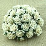 Роза Ivory, на проволоке, 20 мм, цена за 5 шт., UC002774