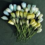 Тюльпаны с листиками на проволоке, MIX зеленый, длина бутона 14 мм., цена за 5 шт., UC002777