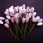 Тюльпаны с листиками на проволоке, MIX фиолетовый, длина бутона 14 мм., цена за 5 шт., UC002778