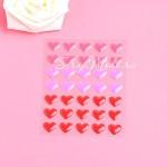 Набор эмалевых Сердечек L2-06, 35 шт, размер 1,4 см.,  красные и сиреневые оттенки, UC002796
