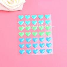 Набор эмалевых Сердечек L1-02, 35 шт, размер 1,4 см., мятные и голубые оттенки, UC002797
