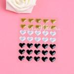 Набор эмалевых Сердечек L1-02, 35 шт, размер 1,4 см., в наборе золотые, черные и серебр, UC002798