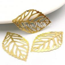 Металлический листик, золото, размер 4,6х2,6 см. цена за 1 шт. UC002805