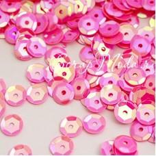 Пайетки Розовые, 4,5 гр., 6 мм., в пластиковом боксе, UC002813