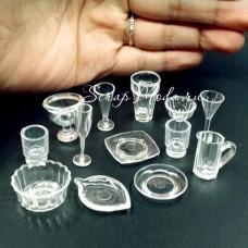 Mini посуда, прозрачная, 17 предметов,  габаритный размер от 10 до 30 мм. UC002820