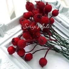 Ягода красная обсыпанная сахаром, пластик, на проволоке, 11 мм, цена за 1 шт. UC002832