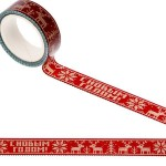 Декративный скотч С новым годом, красный, 1,5 см, 10 метров, UC002856