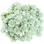 Розочки на проволоке, цвет:мятный, размер:10 мм., цена за 5 шт., UC002872