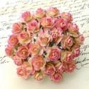 Розочки на проволоке, жёлто-розовая, 10 мм., цена за 5 шт., UC002875