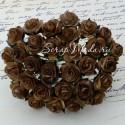 Розочки на проволоке, коричневые с шоколадным краем, 15 мм., цена за 5 шт., UC002876