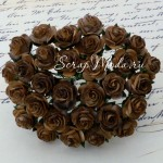 Розочки на проволоке, цвет:Коричневый с шоколадным краем, размер 15 мм., цена за 5 шт., UC002876