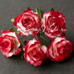 Роза бело-желто-Красная,  30 мм, цена за 1 шт., UC002880