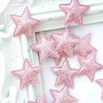 Звездочка тканевая, глитерная, розовая, 32 мм., цена за 1 шт.,  UC002896
