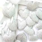 Сердечко тканевое, глитерное, серебро, 35 мм., цена за 1 шт.,  UC002898