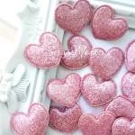 Сердечко тканевое, глитерное, розовое, 35 мм., цена за 1 шт.,  UC002899