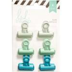 Набор зажимов Bulldog Clips Greens, в наборе 6 штук 3 цвета по 2 штуки, размер зажима 2,5 см, Heidi Swapp UC002914