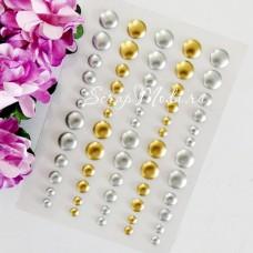 Набор эмалевых точек gold&silver, 30 шт, размер 4 и 7 мм., UC002938