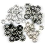 Люверсы Standart, металл, серебро и чёрный никель, 60 шт., размер 3/16 (8  мм. внутри 5 мм.), We R Memory Keepers, UC002949