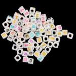 Бусины Цифры на кубике, белые, нанесение Mix цветной, 7 мм., 20 грамм, АртУзор UC002951