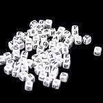 Бусины Алфавит на кубике, белые, нанесение чёрным, 6 мм., 10 грамм, АртУзор UC002952