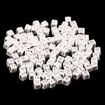 Бусины Алфавит на кубике, белые, нанесение серебро, 6 мм., 20 грамм, АртУзор UC002953