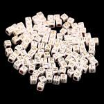 Бусины Алфавит на кубике, белые, нанесение золото, 6 мм., 20 грамм, АртУзор UC002954