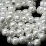 Бусины Жемчужные, пластиковые, Белые, 12 мм.,  в наборе 25 штук, UC002955