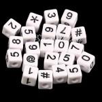 Бусины Цифры на кубике, белые, нанесение чёрным, 10 мм., 20 грамм, АртУзор UC002957