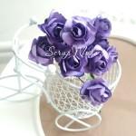 Розочка на проволоке, цвет:Фиолетовый, размер:20 мм., 5 шт., UC002961