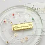 Бирочка из акрила Handmade, золото, размер 4,5 х 1,3 см, UC002973
