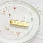 Бирочка из акрила Travel, золото, размер 4 х 0,8 см, UC002974
