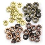 Люверсы Standart, Warm metal, металл, золото, бронза, античная бронза, 60 шт., размер 3/16 (8  мм. внутри 5 мм.), We R Memory Keepers, UC002986