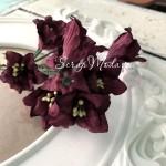 Лилия с тычинками на проволоке, цвет вина, 50 мм, цена за 1 шт., UC002998