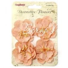 """Цветы нежно-персиковые, 50 мм., цена за 4 шт.,  ScrapBerry""""s, UC003004"""