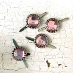 """Брадс  """"Страза розовая"""", серебряная оправа, цена за 1 штуку, размер диаметр 15 мм., UC003017"""