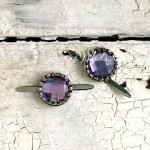 """Брадс  """"Страза сиреневая"""", серебряная оправа, цена за 1 штуку, размер диаметр 15 мм., UC003018"""