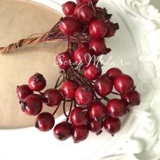 Ягода тёмно-красная, пластик, на проволоке, 11 мм, цена за 1 шт. UC003049