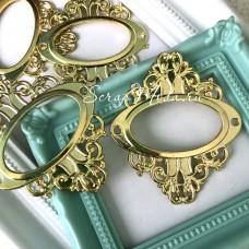 Металлическая рамочка Овальная, золото, размер 55х65 мм., цена за 1 шт.  UC003055