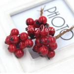 Ягода Красная, пластик, на проволоке, 10 мм, цена за 1 шт. UC003057