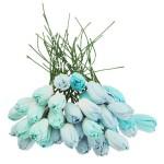 Тюльпаны с листиками на проволоке,цвет: MIX голубой, длина бутона 14 мм., цена за 5 шт., UC003062