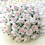 Розочка, цвет:белый с розовой серединкой, размер 25 мм., цена за 1 шт., UC003065