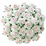 Розочка, цвет:белый с розовой серединкой, размер 15 мм., цена за 5 шт., UC003066