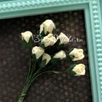Бутон розочки, цвет:сливочный, 8 мм., 10 шт. UC003074