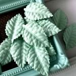 Листочки, цвет:мятный, 24х40мм., 12 шт. UC003075